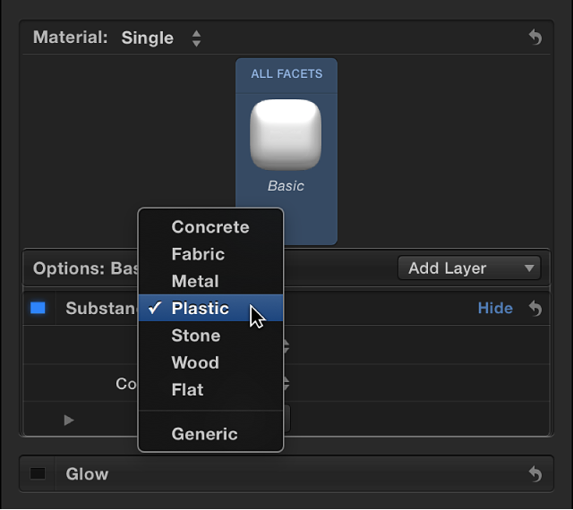 Modify material layers, Final Cut Pro Help