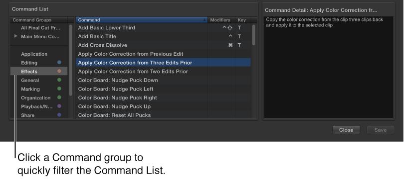 View keyboard shortcuts, Final Cut Pro Help