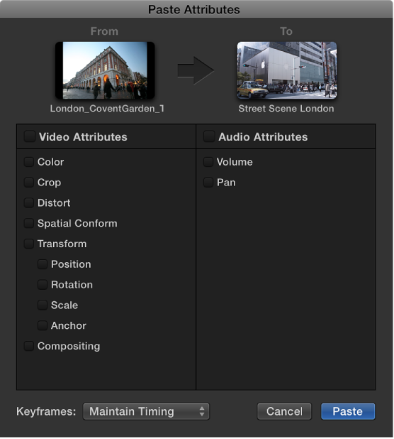 Copy effects and attributes between clips, Final Cut Pro Help