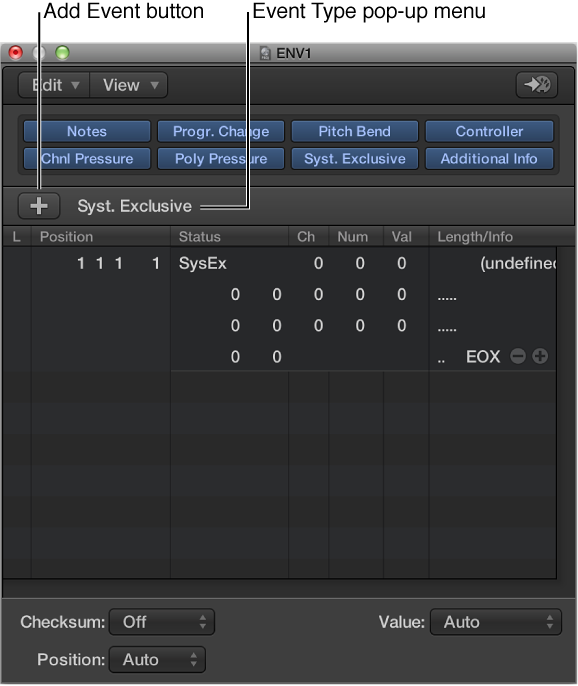 Work with SysEx messages, Logic Pro X Help