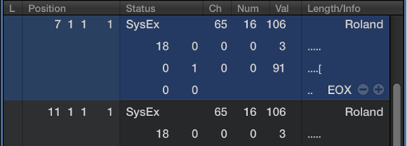 SysEx events, Logic Pro X Help