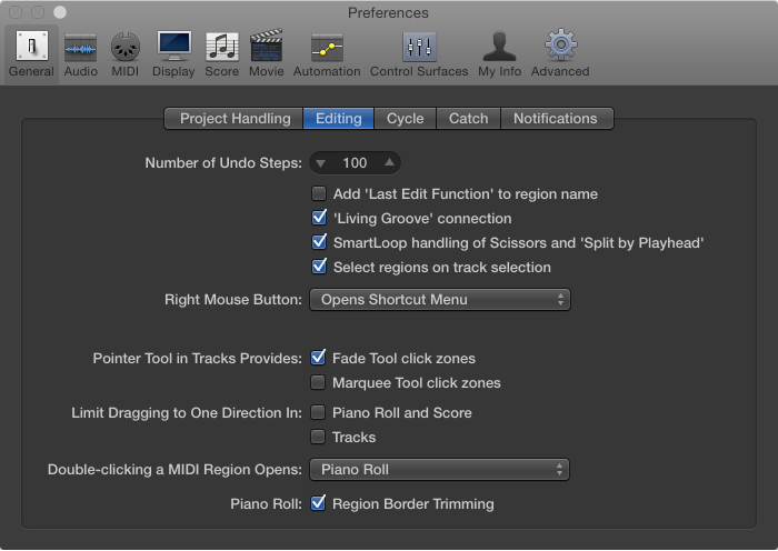 Editing preferences, Logic Pro X Help