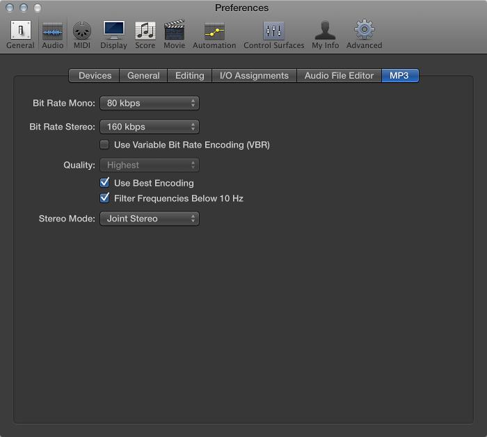 MP3 preferences, Logic Pro X Help