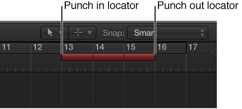 Punch in and out of audio recordings, Logic Pro X Help