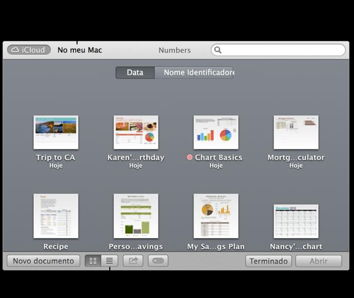8b19840094d21 Janela aberta com folhas de cálculo em iCloud