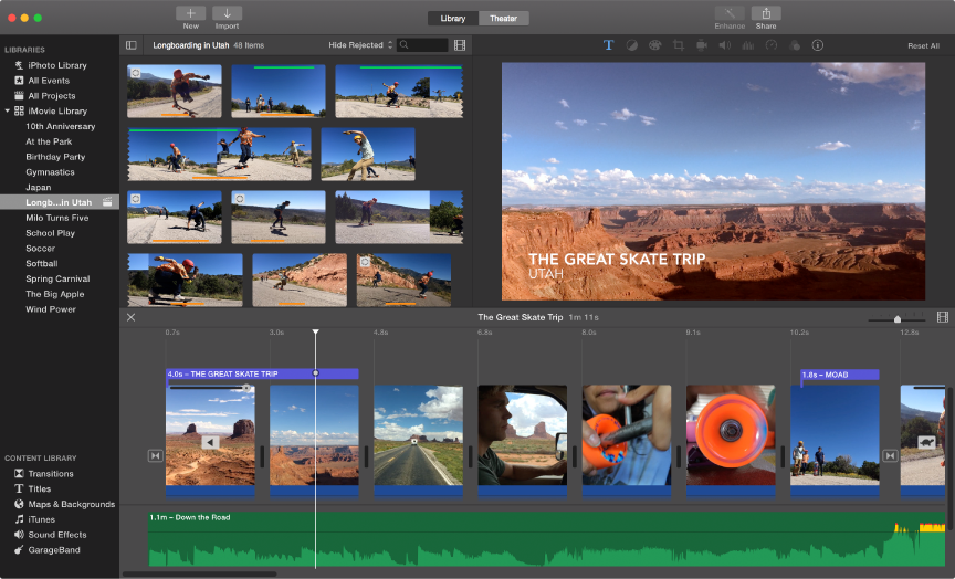 Use iMovie to import, edit, and share movies, OS X Help